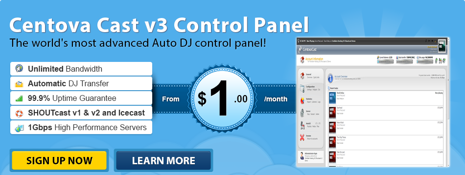 Centova Cast is the world's most advanced Internet radio stream hosting control panel.
